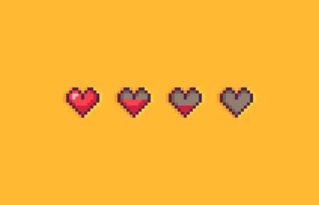 Pixel art hearts on yellow background. Vector illustration.