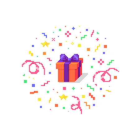 Pixel art gift box with confetti burst. Surprise concept icon. Vector illustration.