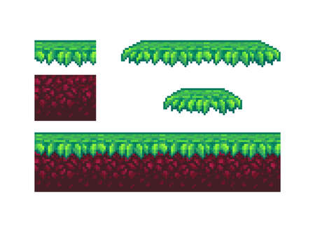 Pixel art ground and grass tile for game design. Vector illustration.