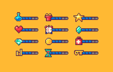 Pixel art game interface elements for mana, energy, stamina, time, bonus. GUI icons with indicators. Vector illustration. Illustration