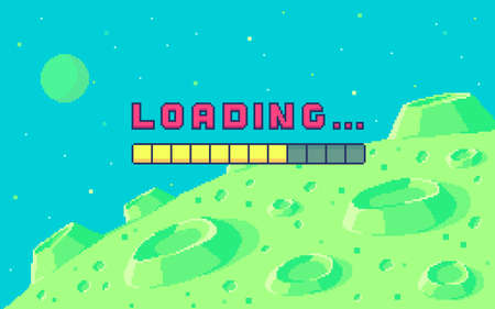 Pixel art design with outdoor landscape background. Colorful pixel arcade screen for game design. Banner with loading button. Game design concept in retro style. Vector illustration.