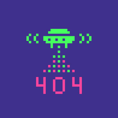 Error 404 page not found concept illustration in pixel art style. Web page banner, search result message. Vector illustration. 向量圖像