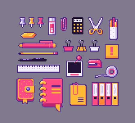 Pixel art stationery icons set. Vector illustration. Illusztráció