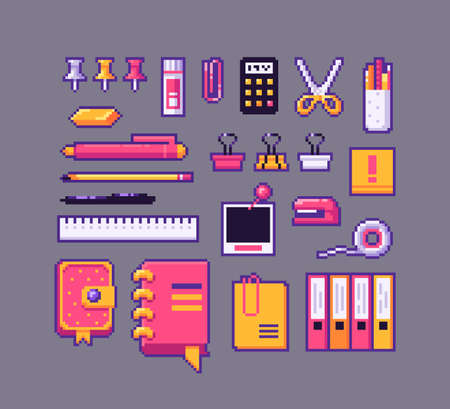 Pixel art stationery icons set. Vector illustration. 矢量图像