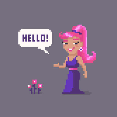 Pixel art woman character. Fairytale personage. Cute vector illustration.