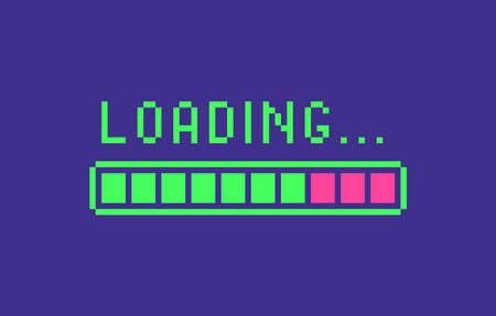 Loading icon in pixel art style. Web page banner, loading process sign. Vector illustration. Иллюстрация