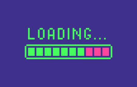 Loading icon in pixel art style. Web page banner, loading process sign. Vector illustration. Illusztráció