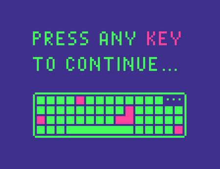 Press any key to continue web page banner in pixel art style. Vector illustration.
