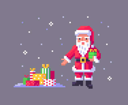 Pixel art Santa Claus gives many gifts. Cute greeting illustration for the holidays. Vector illustration. Ilustração
