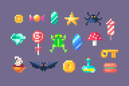 Pixel art game elements. GUI icons for game design. Vector illustration.