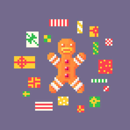 Pixel art gingerbread man lies in a heap of gifts. Cute greeting illustration on holidays.Vector illustration.