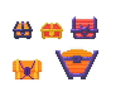 Pixel art set of closed treasure chests different forms and sizes. Vector illustration.