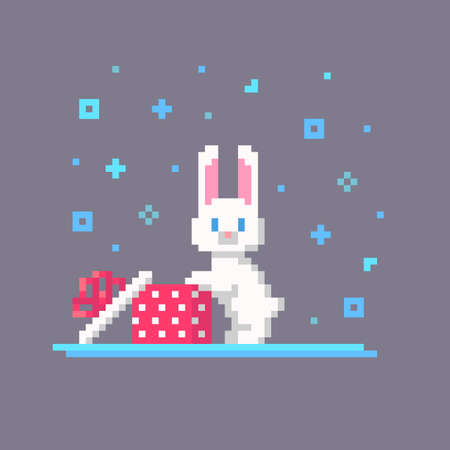 Pixel art Christmas rabbit opened the box. Cute greeting illustration on holidays. Vector.