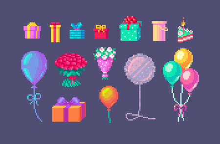 Pixel art set of presents and gifts on holidays events. Cute bright party icons. Vector illustration.