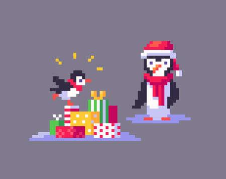 Pixel art penguins are enjoying the Christmas holidays. Cute greeting illustration on holidays.