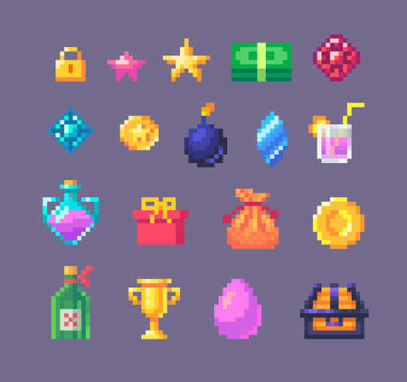 Pixel art game interface bonus elements. GUI icons for game design. Vector illustration.