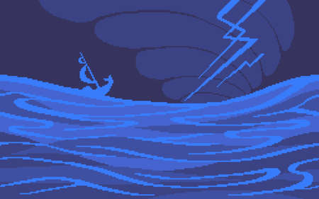 Pixel art game location. Thunderstorm at sea. 8 bit retro style background. Seamless vector background. Ilustração