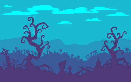 Pixel art game location. A haunted forest with graves. 8 bit retro style background. Seamless vector background.