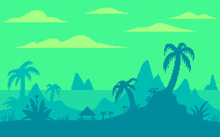 Pixel art game location. Palm trees on a tropical island. 8 bit retro style background. Seamless vector background.