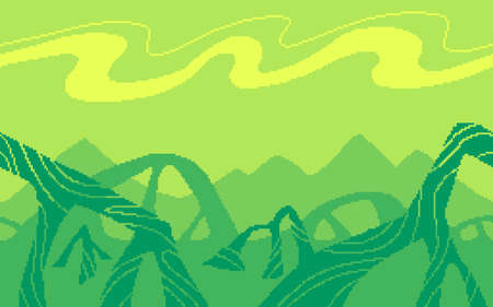 Pixel art game location. Dangerous plants on an alien planet. 8 bit retro style background. Seamless vector background.