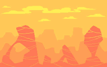 Pixel art game location. Hot desert with stones different shapes. 8 bit retro style background. Seamless vector background. Ilustração