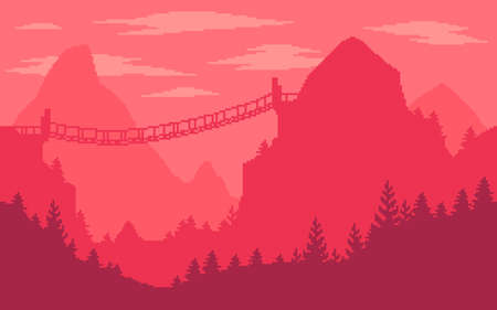 Pixel art game location. Extreme dangerous mountains with a bridge. 8 bit retro style background. Seamless vector background.