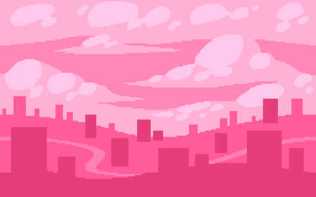 Pixel art game location. Dream town with fluffy clouds. 8 bit retro style background. Seamless vector background.