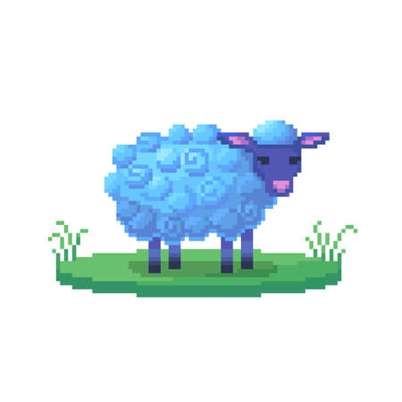 Pixel art sheep. Farm animal for game design. Cute vector illustration.