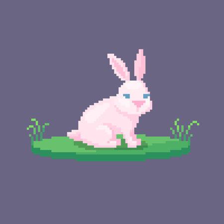 Pixel art rabbit. Farm animal for game design. Cute vector illustration.