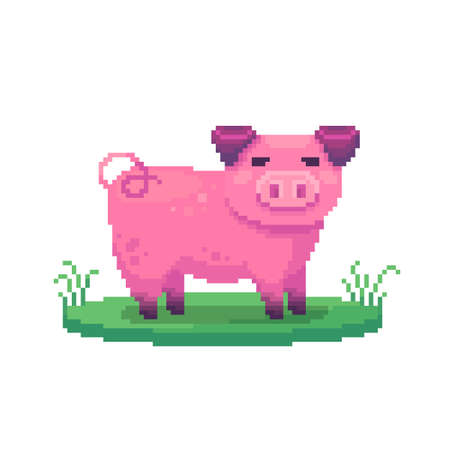 Pixel art pig. Farm animal for game design. Cute vector illustration.