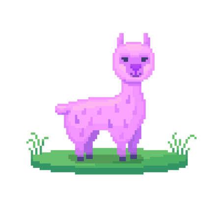 Pixel art lama. Farm animal for game design. Cute vector illustration.