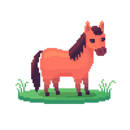 Pixel art horse. Farm animal for game design. Cute vector illustration.