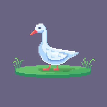 Pixel art goose. Farm animal for game design. Cute vector illustration.