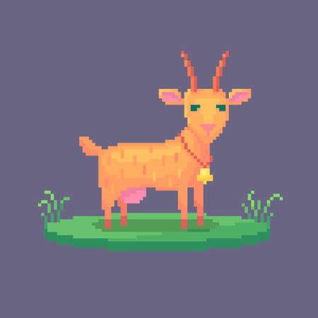 Pixel art goat. Farm animal for game design. Cute vector illustration.