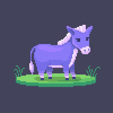 Pixel art donkey. Farm animal for game design. Cute vector illustration.