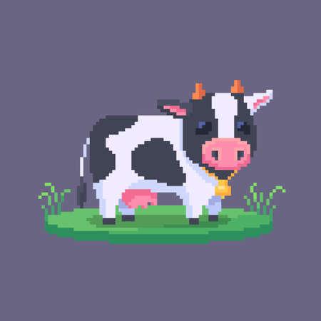 Pixel art cow. Farm animal for game design. Cute vector illustration.
