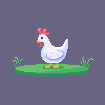 Pixel art chicken. Farm animal for game design. Cute vector illustration.