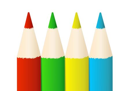 Colored Pencils Illustration - isolated on white background