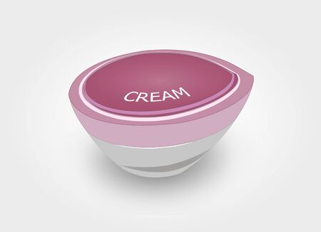 Pink Cream Cap Bottle, Cosmetic Jar With Text on Light Grey Background - Illustration Vector Illusztráció