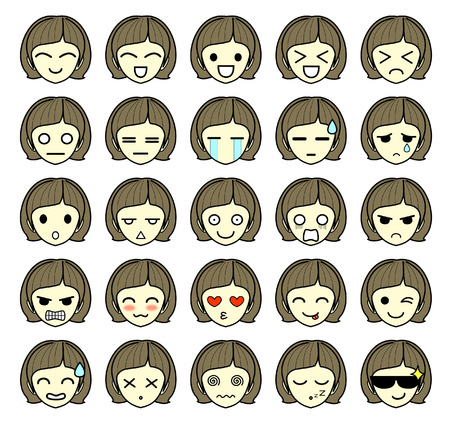 Set of emoticon icons - girl cartoon character - isolated on white background - vector illustration