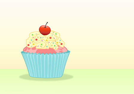 Sweet Cupcake With Cream And Toppings - Illustration Vector Illusztráció