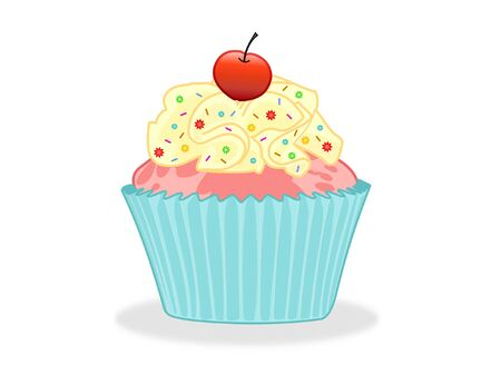 Sweet Cupcake With Cream And Toppings Isolated On White Background - Illustration Vector
