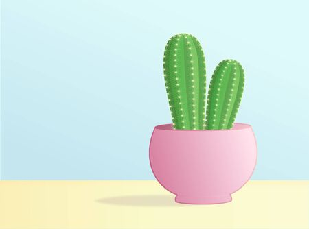 Cactus In The Pot Isolated On Sweet Color Background  Vector Illustration
