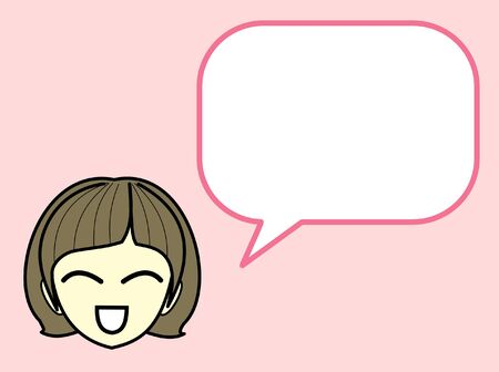 Girl Character Cartoon with Speech Bubble short message Isolated on Pink Background - Vector Illustration