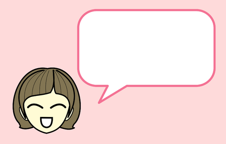 Girl Character Cartoon with Speech Bubble long message Isolated on Pink Background - Vector Illustration