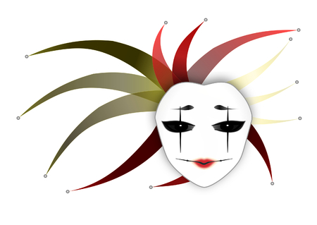 Mysterious Woman Mask  Joker Lady  White Background  Vector Illustration