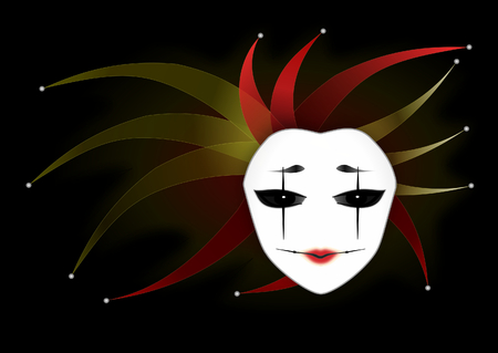 Mysterious Woman Mask  Joker Lady  Dark Background  Vector Illustration