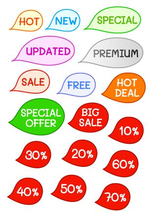 discount banner: Cute Colorful Sale Label, Marketing Banner, Discount Price Tag in Bubble Speech Isolated on White Background Illustration