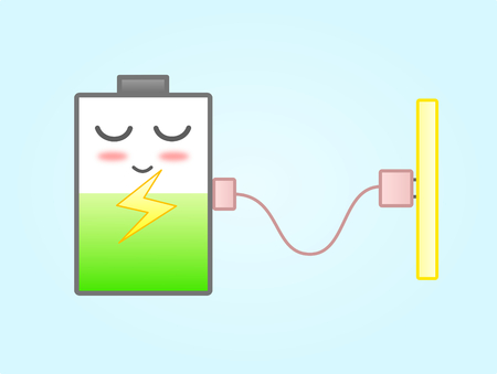 Battery Charging with Plug Wire  Sweet Color Cartoon Illustration Illusztráció