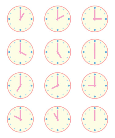 timezone: Set of Twelve clocks - Set at Each Hour - 12 hours on White Background Illustration